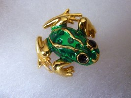 Vintage Fashion Jewelry Gold Plated Green Enamel Frog Brooch Pin Signed AAi - $14.21