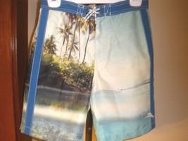 TOMMY BAHAMA TRUNKS BOARDSHORTS PHOTO PRINT OF PALM TREES & LAGOON/BEACH... - $35.63