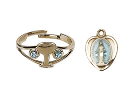 Miraculous Medal Communion Set  - Gold Plate  - Blue Background Heart Shaped - $43.99