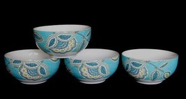 4 Wildfield Brights Jacobean Paisley Turquoise Large Soup Bowls 222 Fifth Nib - $39.99