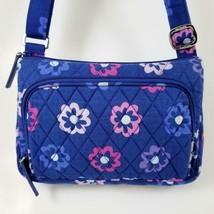 Vera Bradley Ellie Flowers Crossbody Wallet Shoulder Bag Purse Blue Flor... - $19.99