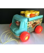 Fisher-Price Vintage 1965 Milk Wagon Cart Wooden Pull-Toy #131 w/All 6 Bottles - $27.12