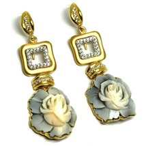 EARRINGS SILVER 925, CAMEO CAMEO SHELL, ROSES, FLOWERS, HANGING image 1