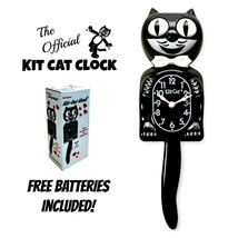 """CLASSIC BLACK KIT CAT CLOCK 15.5"""" Free Battery Official MADE IN USA Kloc... - $59.99"""