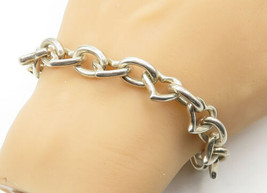 925 Sterling Silver - Vintage Oval Love Heart Link Shiny Chain Bracelet ... - $89.67