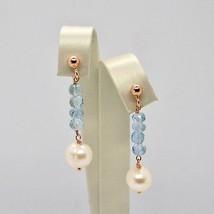 Boucles D'Oreilles Pendantes en Argent 925 Laminé Or Rose avec Perles Et image 1