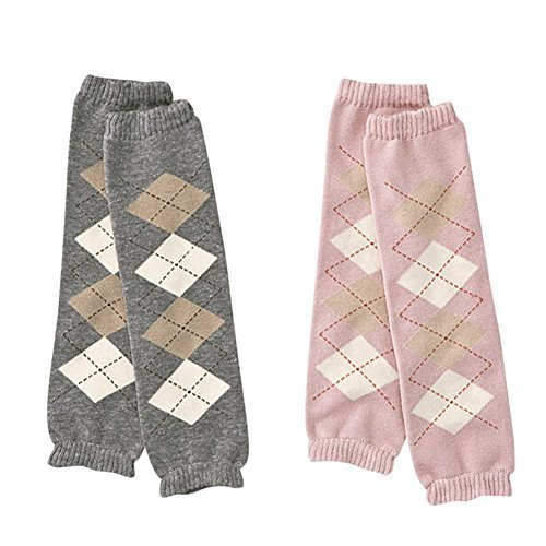 Set of 2 Lovely Pink&Gray Cotton Baby Leg Wamers Comfy Leg Guards,0-5Years