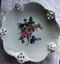Rosenthal Group Classic Rose Pierced & Scalloped Round Bowl Roses Floral... - $14.84