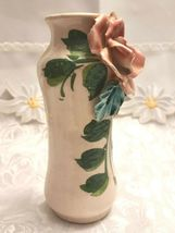 Antique Hand Made & Painted Sculpted Rose on a Ceramic Vase, Made In Italy image 4