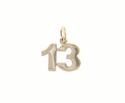 18K YELLOW GOLD NUMBER 13 THIRTEEN PENDANT CHARM, 0.7 INCHES 17 MM MADE IN ITALY