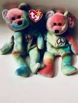 Vintage Beanie Baby Peace Lot X 2 Circ. 1996 Ty Dyed Tush & Swing Tags - $26.72
