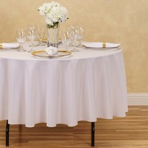 Linen Table cloth 90-Inch Round Polyester Tablecloth White - $11.99