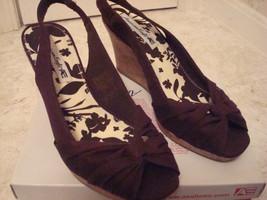 American Eagle Shoes 8.5 M Brown Canvas Cork Wedge Heel Slingbacks  EUC - $9.89