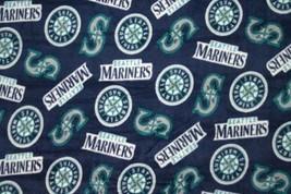 Seattle Mariners Navy MLB Major League Team Baseball Print Fleece Fabric s6519bf - $12.97