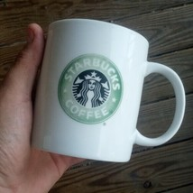 "Starbucks Coffee Mug 1999 White Green Siren Mermaid Logo 14 oz Glossy 4""... - $18.11"