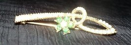 Vtg Gold-Tone Emerald Pearl Brooch Pin Costume Jewelry Floral Flower Sta... - $9.02