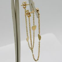 18K YELLOW GOLD PENDANT EARRINGS, ROLO CHAIN UNDER THE EARLOBE, DOUBLE HEART image 3