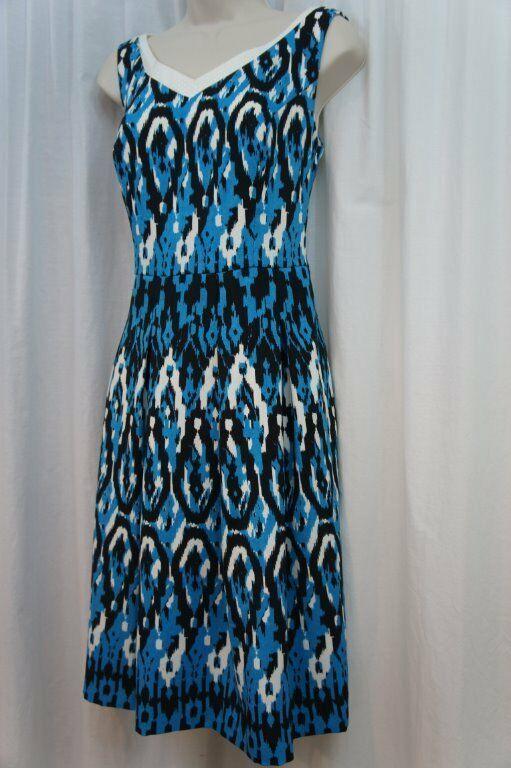 Anne Klein Dress Sz 12 Capri Blue Multi Sleeveless V-Neck Swing Career Cocktail image 5