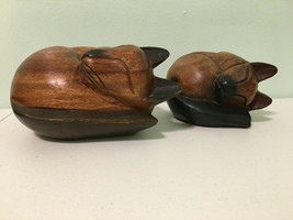 Lot of Two Hand Carved Wooden Sleeping Cats - $39.59