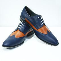 Handmade Men's Blue and Orange Wing Tip Slip Ons Dress/Formal Oxford Shoes image 1