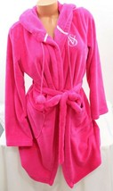 Victoria's Secret Cozy Soft Plush Robe Pink size Small Pom Pom Hooded - $58.91
