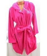 Victoria's Secret Cozy Soft Plush Robe Pink size Small Pom Pom Hooded - $58.91