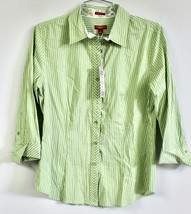 Talbots 6 Haberdashery Purple or Green Stripe Fitted Long Sleeved Blouse... - $23.75