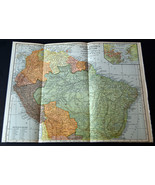 "1921 Antique ORIGINAL 12"" South America Map Venezuela Colombia Brazil - $14.24"
