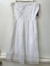 Old Navy White 100% Cotton Side Zip Lined Strapless Dress Size 4 NWT New - $28.95