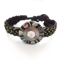 GREEN AND BLACK MODERN LEATHER TIE ON FRIENDSHIP BRACELET  WITH ABALONE ... - $9.45