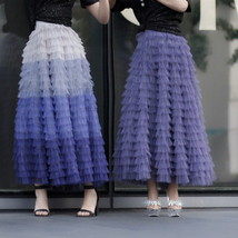 Tiered Tulle Maxi Skirt in Purple Violet Gray Tulle Layered Skirt for Adults  image 5