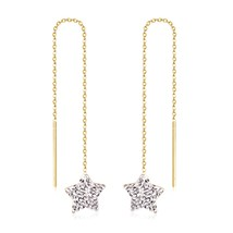 Stainless Steel Star White Clay Tassel Chains Earrings Gold/Silver Long ... - $9.62