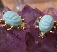 Scarab Brooch, Matched Pair Aqua Glass Beetles Costume Gold Setting Scat... - $44.55