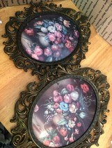 """Pair Vintage Brass Oval Picture Frame Dome Glass Italy 13 1/4"""" H x 10 1/... - €52,73 EUR"""