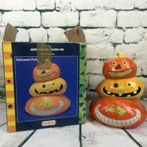 HALLOWEEN PARTY Cookie Candy Jar Sakura Stacked Triple JACK O LANTERNS  ... - $34.64
