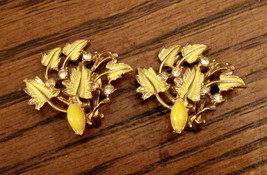 CLIP ON EARRINGS Yellow Leaves w Rhinestones ✿ VTG Un Signed - $19.75