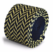 Frederick Thomas Knitted Silk Mens Tie - Dark Navy Blue and Yellow - Her... - $15.76