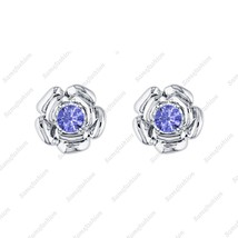 Rose Flower Earring Tonzanit 14k White gold Over .925 Sterling Silver fo... - $39.99