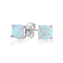Antique Fashion Silver Fire Opal Gemstone Wedding Proposal Hoop Stud Earrings - $11.75