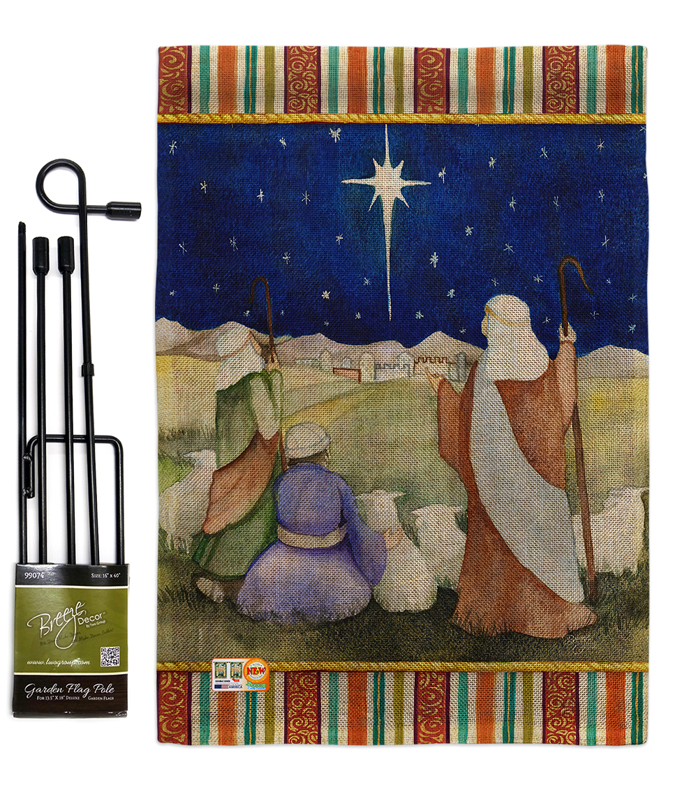 Christmas in Bethlehem Burlap - Impressions Decorative Metal Garden Pole Flag Se - $33.97