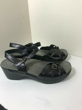 Dansko Sissy Black Crinkle Patent Leather Slingback Sandals Size Euro 42 US 11.5 - $32.62