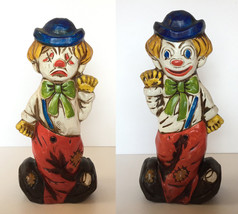 "Vtg Clown 12"" Tall Resin Piggy Bank Savings happy sad face Carnival Circ... - $44.54"