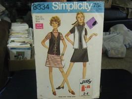 Simplicity 8334 Misses Dress & Vest Pattern - Size 10 Bust 32 1/2 - $8.90