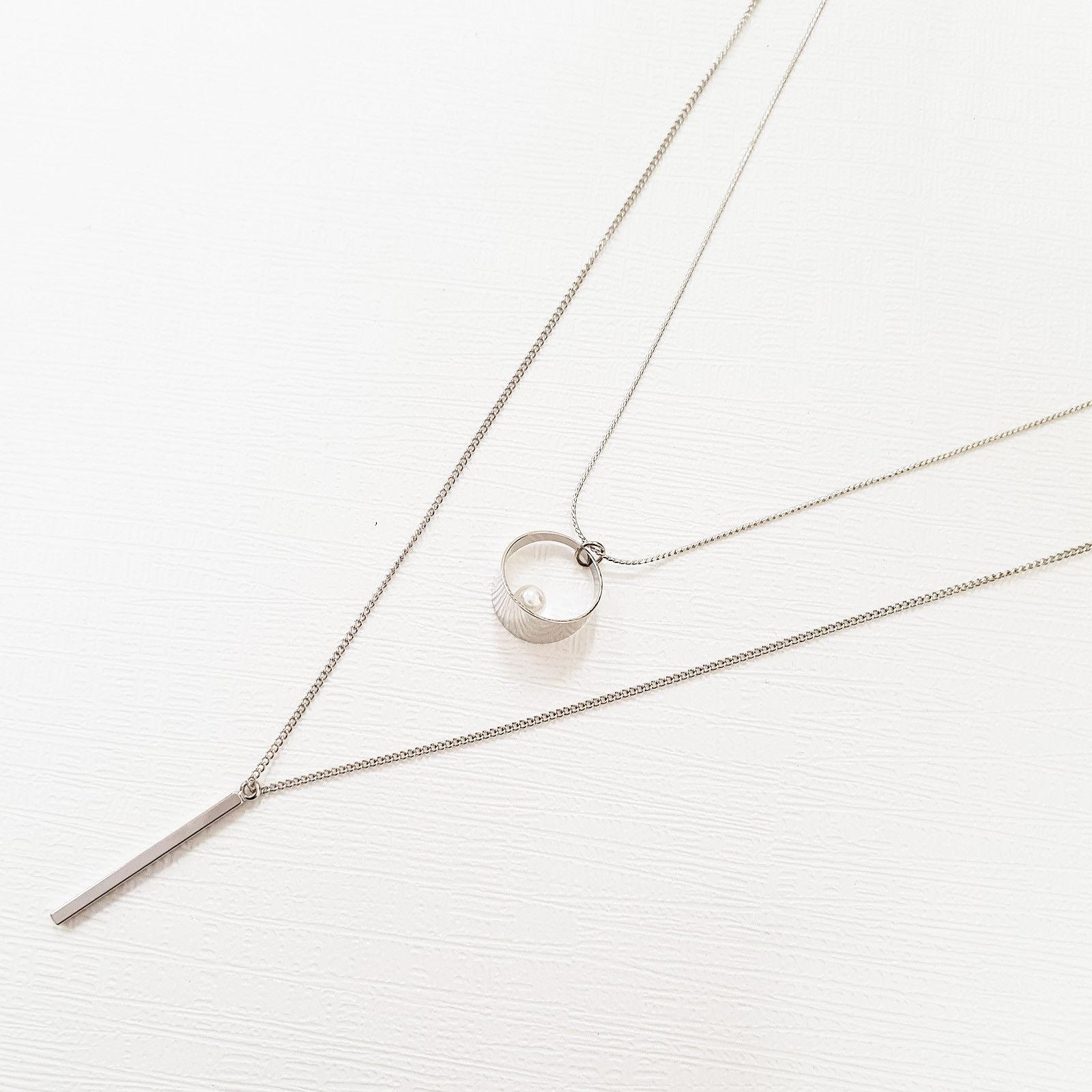 Multi-Strand Bar Open Circle Princess Layered Necklace Imitation Pearl N17