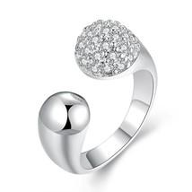 Pave in Swarovski Crystals Adjustable Ring in White Gold - $27.99