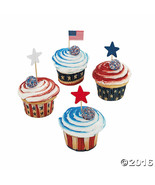 Patriotic Cupcake Liners with Picks  (200 Pieces) Baking Cups w/Star Picks - $9.49