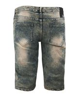 Men's Distressed Denim Faded Wash Slim Fit Moto Quilt Skinny Jean Shorts image 12