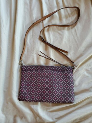Primary image for FOSSIL Brown Leather Crossbody Bag  Print Zip Closure