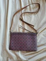 FOSSIL Brown Leather Crossbody Bag  Print Zip Closure - $15.83