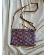 FOSSIL Brown Leather Crossbody Bag  Print Zip Closure - $15.83